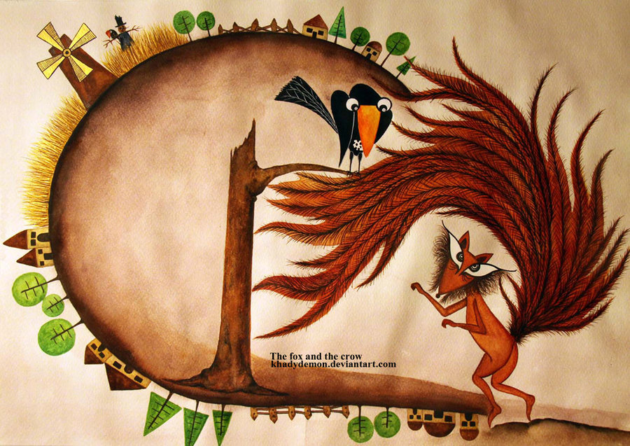 the_fox_and_the_crow_by_khadydemon-d5cewxc